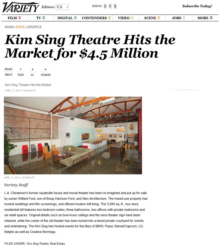 Kim Sing Theatre for Sale Variety Real Estate Article